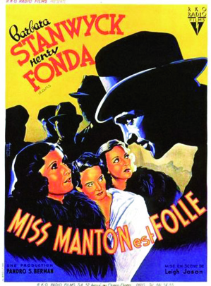 """""""The mad miss Manton"""" (Miss Manton est folle)  Jeudi 21 décembre 2017 à 20h30 à la Cinémathèque de Corse."""