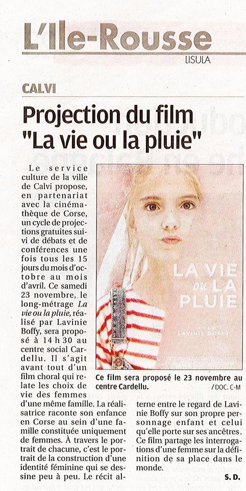 """""""Projection du film LA VIE OU LA PLUIE à Calvi  le 23 novembre à 14h30"""" article paru sur le Corse Matin le 20 novembre 2019."""
