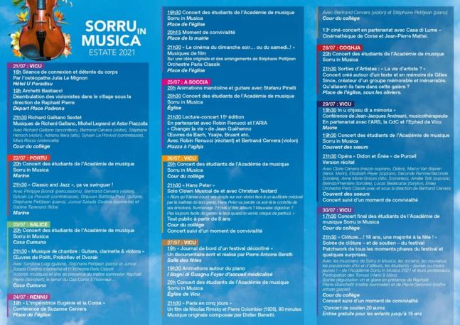 FESTIVAL SORRU IN MUSICA  Ciné-concert le 27 JUILLET 2021 à Vico