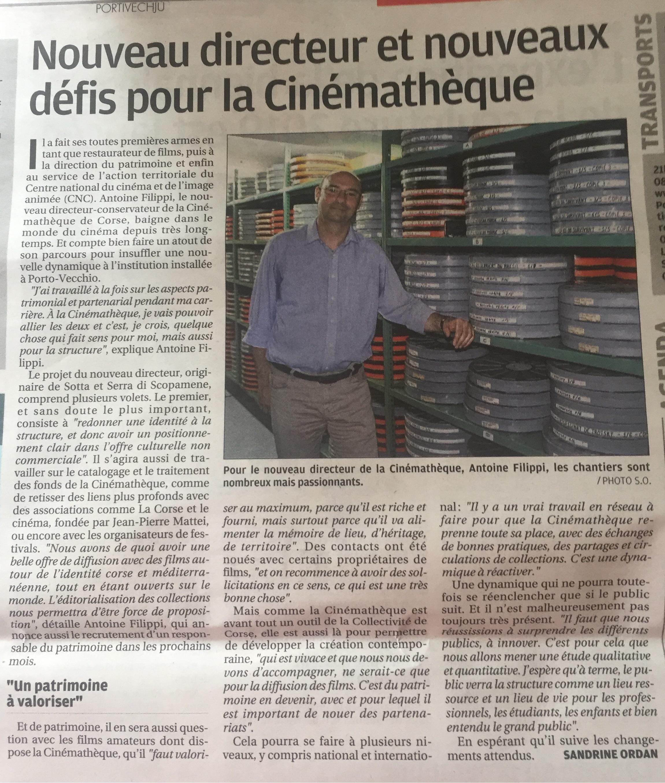 """""""Nouveau Directeur et nouveaux défis pour la Cinémathèque""""- Article de Sandrine Ordan paru le 9 juillet 2019 dans le Corse Matin."""