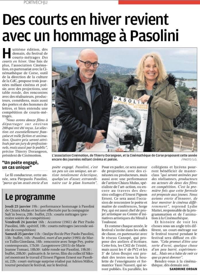 """""""Des courts en hiver revient avec un hommage à Pasolini""""-Article de Sandrine Ordan paru le 22 janvier 2020 dans le Corse Matin."""