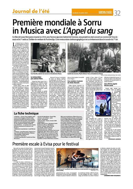 Première Mondiale à Sorru in Musica avec l'Appel du sang