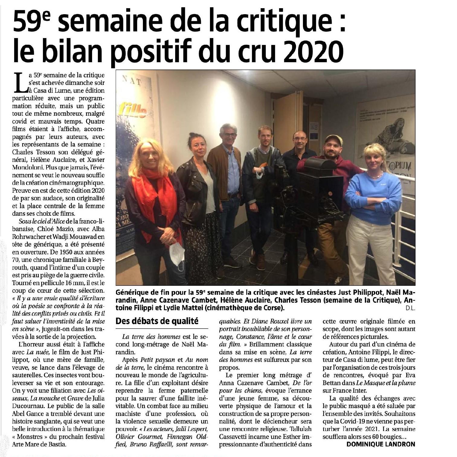 59 ème Semaine de la critique: le bilan positif du cru 2020.