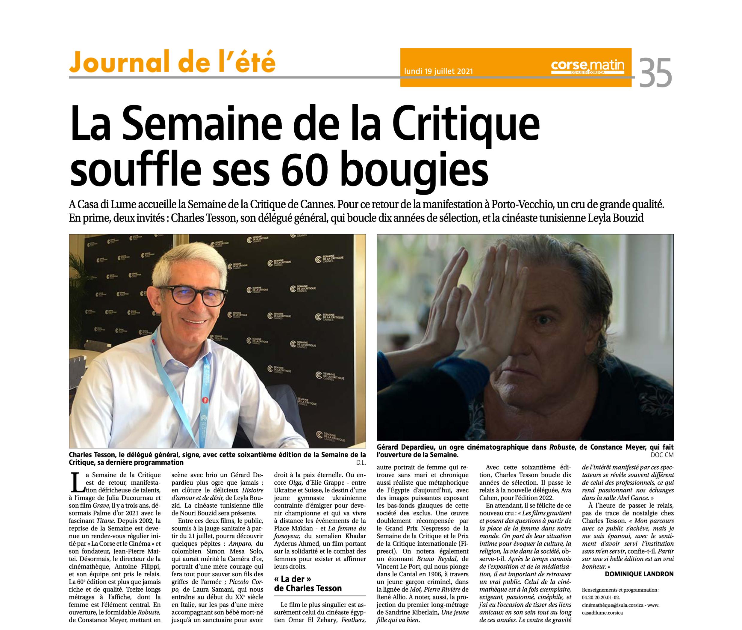 La Semaine de la Critique souffle ses 60 bougies