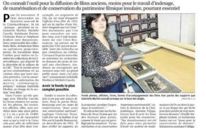 """""""Plongée dans l'antre de la Cinémathèque de Corse""""- Article de Sandrine Ordan paru le 13 novembre 2019 dans le Corse Matin."""
