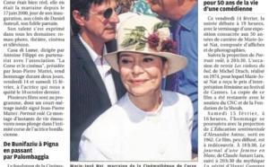 """""""L'hommage de la Cinémathèque à l'actrice Marie-José Nat.""""  Article de Dominique Landron paru le 12 février 2020 sur le Corse Matin."""